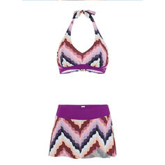 Stripe Splice color Halter V-Neck Retro Boho Bikinis Swimsuits