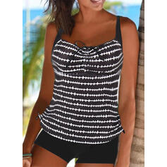 Stripe Strap Sports Casual Tankinis Swimsuits