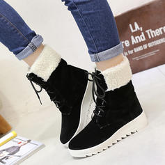 Women's Suede Flat Heel Flats Closed Toe Boots Mid-Calf Boots Snow Boots With Lace-up shoes