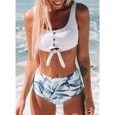 High Waist Push Up Strap U-Neck Fresh Bikinis Swimsuits