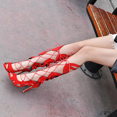 Women's Leatherette Stiletto Heel Sandals Pumps Peep Toe With Hollow-out shoes