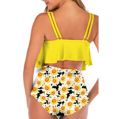 High Waist Tropical Print Strap U-Neck Fresh Tankinis Swimsuits