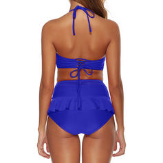 Solid Color High Waist Halter V-Neck Sexy Bikinis Swimsuits