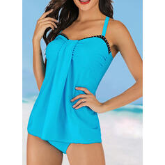 Solid Color Bowknot Strap Elegant Beautiful Classic Tankinis Swimsuits