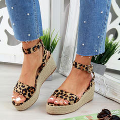 Women's PU Wedge Heel Sandals Wedges Peep Toe Heels With Buckle Animal Print shoes