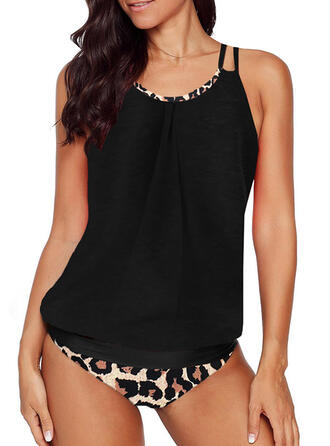 Leopard Leaves Strap Fashionable Beautiful Tankinis Swimsuits