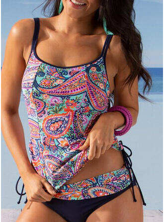 Floral Print Strap U-Neck Sexy Boho Tankinis Swimsuits