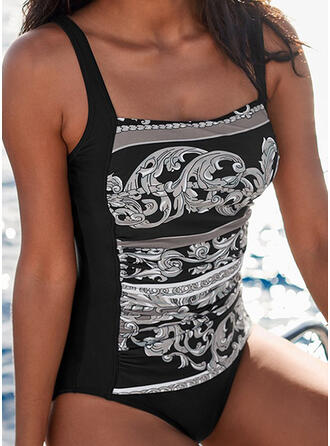 Print Strap Vintage Casual One-piece Swimsuits