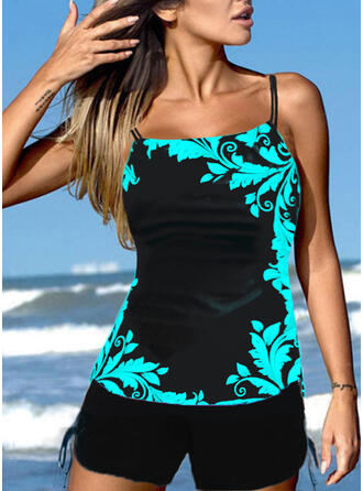 Print Strap Plus Size Casual Tankinis Swimsuits