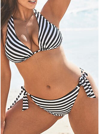 Stripe Knotted Halter V-Neck Sexy Fashionable Plus Size Bikinis Swimsuits