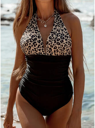 Leopard Splice color Halter V-Neck Sexy One-piece Swimsuits