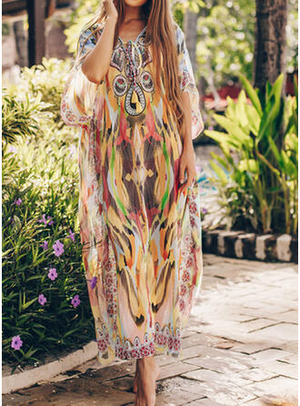 Print V-Neck Fashionable Vintage Fresh Cover-ups Swimsuits