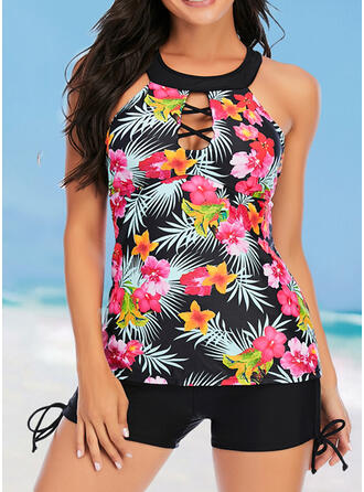 Floral Print Round Neck Sexy Tankinis Swimsuits