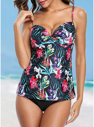 Floral Print Strap Sexy Tankinis Swimsuits