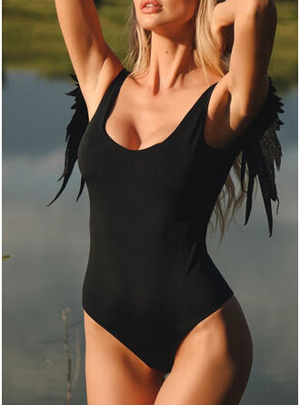 Solid Color Backless Strap U-Neck Elegant Eye-catching Exquisite One-piece Swimsuits