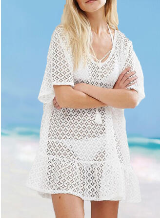 Solid Color Crochet Strap Sexy Amazing Cover-ups Swimsuits