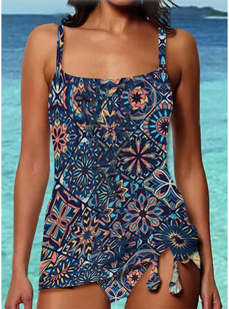 Splice color Strap U-Neck Vintage Boho Swimdresses Swimsuits