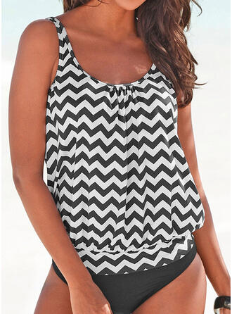 Stripe Print Strap U-Neck Fresh Plus Size Tankinis Swimsuits