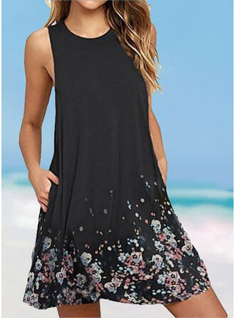 Floral Print Round Neck Fresh Plus Size Boho Cover-ups Swimsuits