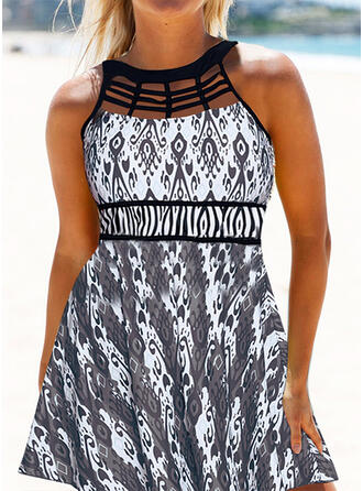 Floral Splice color Hollow Out Strapless High Neck Sports Plus Size Casual Swimdresses Swimsuits