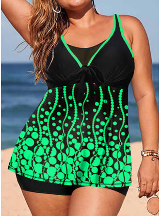 Print V-Neck Plus Size Tankinis Swimsuits