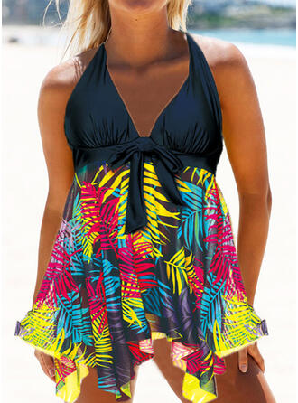 Floral Splice color Knotted V-Neck Strapless Plus Size Retro Casual Swimdresses Swimsuits