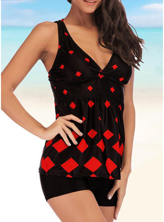 Plaid Print Strap Casual Amazing Exquisite Novelty Luxury Tankinis Swimsuits