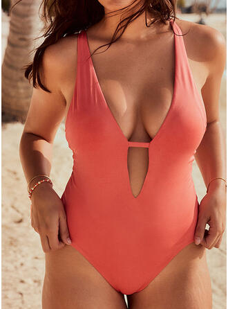 Solid Color Round Neck Vintage Classic Cute One-piece Swimsuits