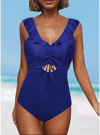 Solid Color Wave Cut Lace Up Strap V-Neck Sexy Vintage One-piece Swimsuits