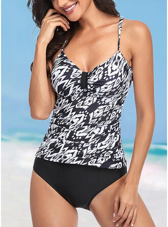 Print Strap Fashionable Casual Tankinis Swimsuits