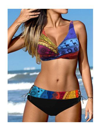 Splice color Lace Up Strap V-Neck Plus Size Colorful Casual Bikinis Swimsuits