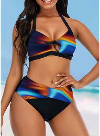 Colorful High Waist Keyhole Gradient Galaxy Halter Eye-catching Retro Bikinis Swimsuits