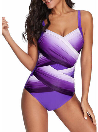 Splice color Cross Strap Sexy One-piece Swimsuits