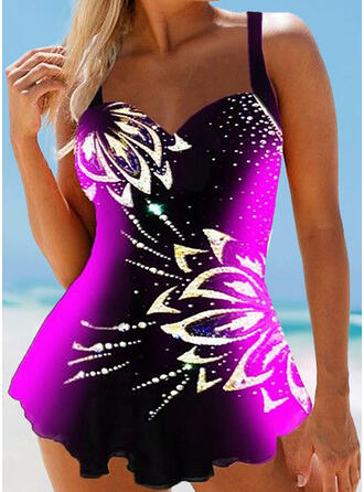 Print Splice color Strap V-Neck Plus Size Eye-catching Swimdresses Swimsuits