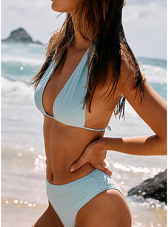 Solid Color Round Neck Casual Amazing Exquisite Bikinis Swimsuits