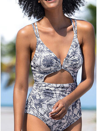 Floral Leaves Print V-Neck Sexy Classic One-piece Swimsuits