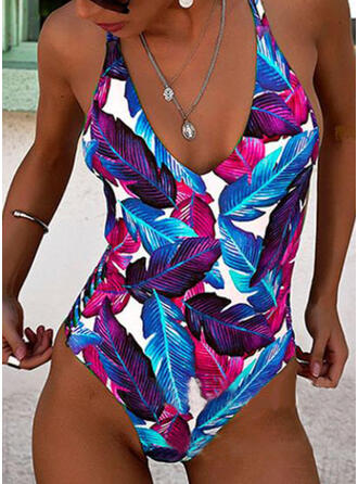 Leaves Print Halter Fresh One-piece Swimsuits