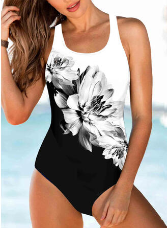 Floral Print Strap U-Neck Sexy One-piece Swimsuits