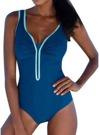 Triangle Patchwork V-Neck Sexy Eye-catching One-piece Swimsuits