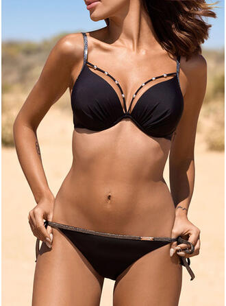 Solid Color Push Up Strap V-Neck Classic Cute Bikinis Swimsuits