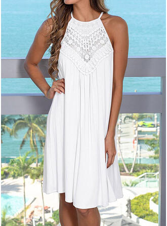 Solid Color Dreamcatcher Strap High Neck Sexy Elegant Cover-ups Swimsuits