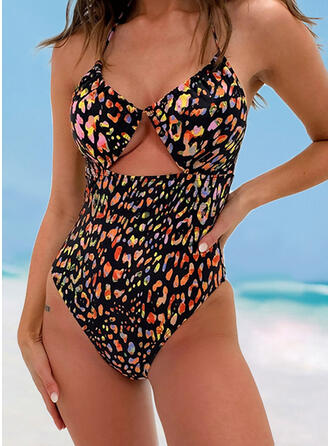 Print Backless Strap V-Neck Sexy Elegant One-piece Swimsuits