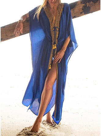 Print String V-Neck Bohemian Cover-ups Swimsuits