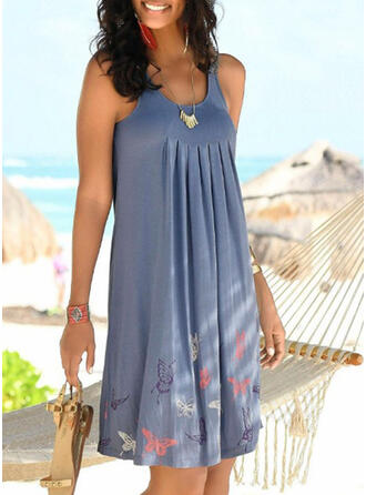 Floral Print Round Neck Plus Size Boho Cover-ups Swimsuits