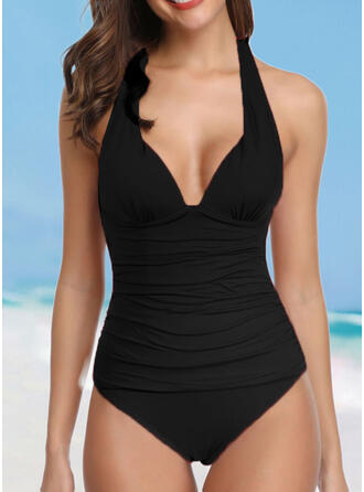 Solid Color Backless Strap V-Neck Sexy Elegant One-piece Swimsuits