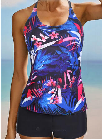 Floral Print Strap U-Neck Sexy Vintage Plus Size Tankinis Swimsuits
