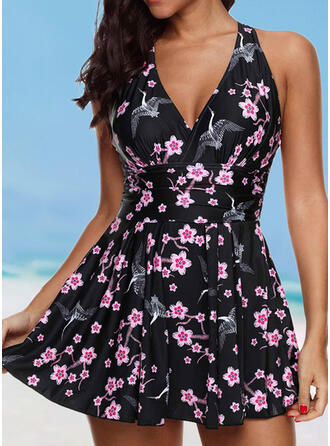 Floral Print Halter Sexy Swimdresses Swimsuits