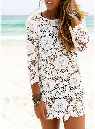 Floral Solid Color Mesh Round Neck Elegant Cover-ups Swimsuits