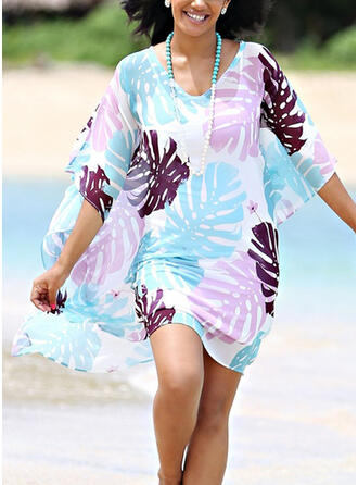 Leaves Print Round Neck Casual Cover-ups Swimsuits