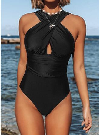 Solid Color Hollow Out Halter Round Neck Sexy One-piece Swimsuits